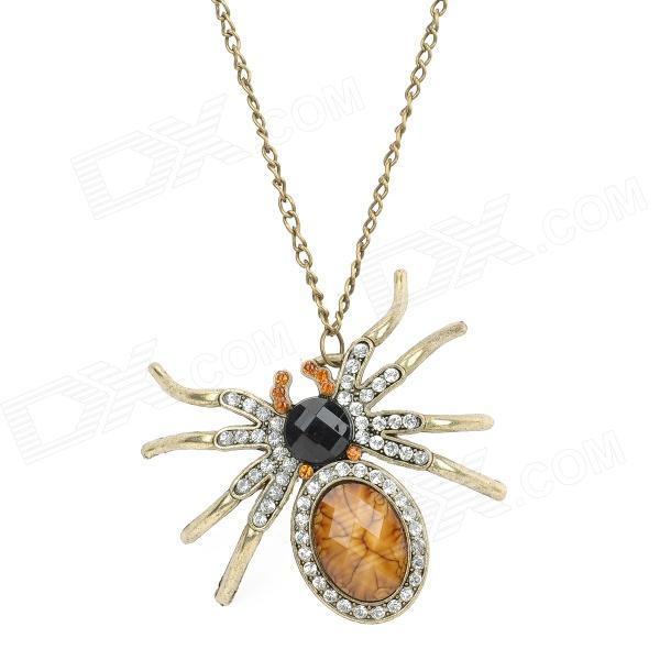 Rhinestone Decoration Electroplating Alloy Spider Pendant Necklace - Bronze