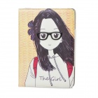 Protective The Girl PU Leather Case w/ Smart Sleeping for iPad 4 - Multicolor