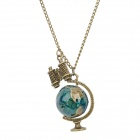 Retro Zinc Alloy Globe +Telescope Pendant Necklace - Blue + Bronze