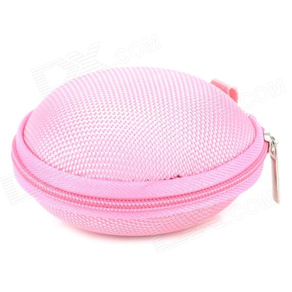 Round Carrying Hard Case Storage Bag for Cell Phone MP3 Earphone - Pink