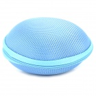 Round Carrying Hard Case Storage Bag for Cell Phone MP3 Earphone - Blue