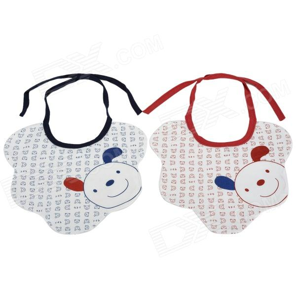 5706 Cute Cartoon Patterned Breathing Bamboo Fiber Saliva Towel for Baby - Red + Blue (2 PCS)