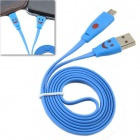 CMI Luminous Smiling Face Flat USB to Micro USB Cable/ Charging Cable for Samsung S4 - Blue (100cm)