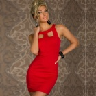 LC2804-3 Stylish Sexy Chest Hollow-out Crew Neck OL Dress for Women - Red (Size-L)