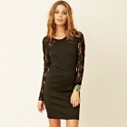 LC2620 Women's Sexy Fashionable Long Lace Sleeves Backless Dress - Black (Free Size)