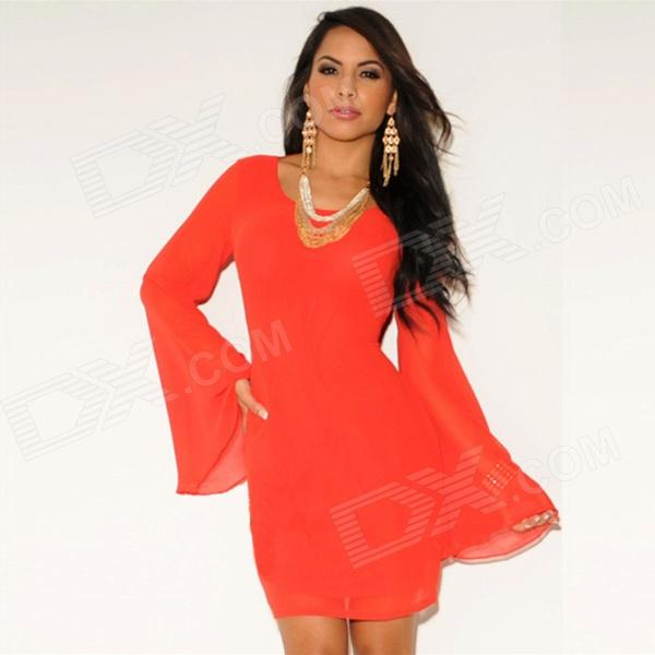 LC2618-3 Women's Stylish Sexy Long-Sleeve Round Collar Lace Dress - Orange Red (Free Size)  free shipping 610 308 3117 poa lmp57 high quality compatible bare lamp for sanyo plc sw30 eiki lc sd10 lc sd12 projectors