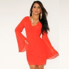 LC2618-3 Women's Stylish Sexy Long-Sleeve Round Collar Lace Dress - Orange Red (Free Size)