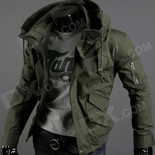 ZM ZM1024 Men's Outdoor Leisure Linen Coat Jacket - Army Green (Size L)