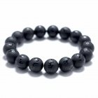 eQute BGEM54S10 Men's Natural 10mm Dull Polish Black Agate Buddha Beads Bracelet - Black