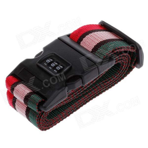 Travel Luggage Belt Strap w/ 3-Digital Combination Lock - Black + Pink + Green + Red (2m)