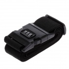 Travel Luggage Belt Strap w/ 3-Digital Combination Lock - Black (2m)