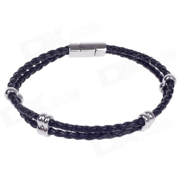 Fashionable Simple PU Leather Titanium Steel Braided Wrist Bracelet for Men - Black + Silver gothic skull hand pu leather bracelet black silver