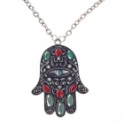 The Hand of Fatima Pendant Long Necklace w/ Shiny Rhinestone - Silver + Black + Red + Green