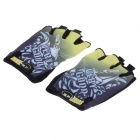 Outdoor Cycling Anti-Slip Half Finger Gloves - Black + Yellow + White (Pair / Size-M)