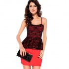 LC2772-3 Sexy Elegant Sleeveless Straps Peplum Dress - Red+ Black (Free Size)