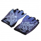 Outdoor Cycling Anti-Slip Half-Finger Gloves - Black + Purple + White (Pair / Free Size)