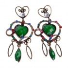 Retro Noble Heart-Shape Zinc Alloy Women's Earrings w/ Shiny Rhinestone - Bronze + Green (Pair)