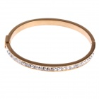 Chic Simple Style Stainless Steel Women's Bracelet w/ Shiny Rhinestone Decorated - Golden