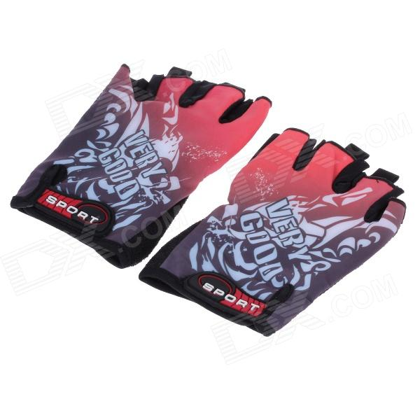 Outdoor Cycling Anti-Slip Half Finger Gloves - Black + Red + White (Pair / Free Size)
