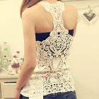 LC25091-1 sexy lace back tanque para as mulheres - branco (tamanho livre)