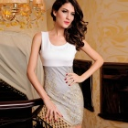 LC2784-1 Chic Embroidered Lace Tank Dress for Women - White + Light Grey + Golden (Free Size)