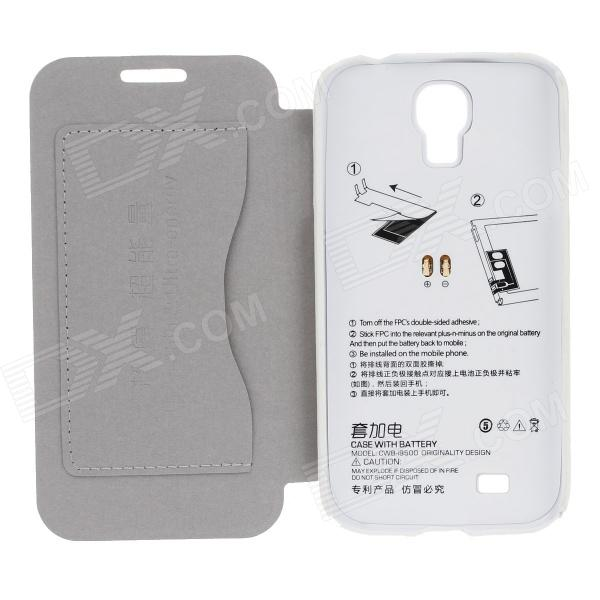 PU Leather Back Case Cover + 2400mAh Polymer Battery for Samsung Galaxy S4 i9500 - Black