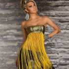 Woman's Sexy Sequin Long Fringe Top - Yellow  (Free Size)