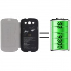 PU Leather Back Case Cover + 2400mAh Polymer Battery for Samsung Galaxy S3 i9300 - Black