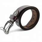 t.acttion 80102-6 Fashion Cow Split Leather Men's Waist Belt w/ Zinc Alloy Buckle - Brown + Silver