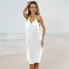 LC40451-1 Stylish Women's Sexy Cross Front Beach Cover-up - White (Free Size)