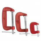 G-Clamp Classic Steel Woodwork Joinery DIY Tool Set - Red + Silver (3 PCS)