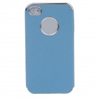 Honeycomb Texture Style Protective Plastic Back Case for Iphone 4 / 4S - Blue + Silver