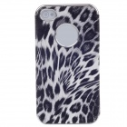 Animal Texture Style Protective Plastic Back Case for Iphone 4 / 4S - Black + White + Silver