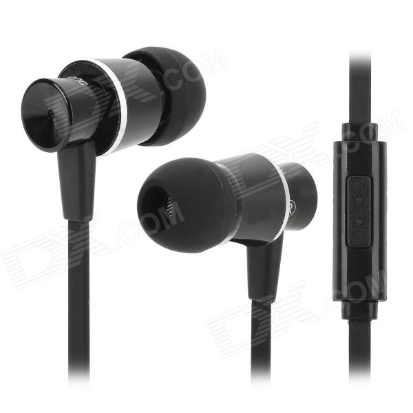 Resong Q5 Stylish Universal 3.5mm Jack Wired In-ear Bass Headset w/ Microphone - Black + Silver gulun gl 777 stylish universal 3 5mm jack wired in ear headset w microphone black brown