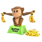Kid's Funny Monkey Maths Balancing Scale Learning Toy - Brown + Yellow