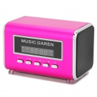 "Portable Mini 1.5"" Screen 2-CH Speaker w/ FM Radio / TF Slot - Rosy + Black + Silver (16GB Max.)"