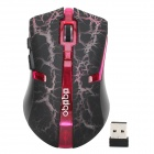 RF-6110 2.4GHz Wireless Optical 1600 / 1000dpi Gaming Mouse - Black + Red (2 x AAA)