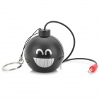 Novel Mini Smiling Emoji Pattern Grenade Style 2-CH Portable Rechargeable Speaker - Black + Silver