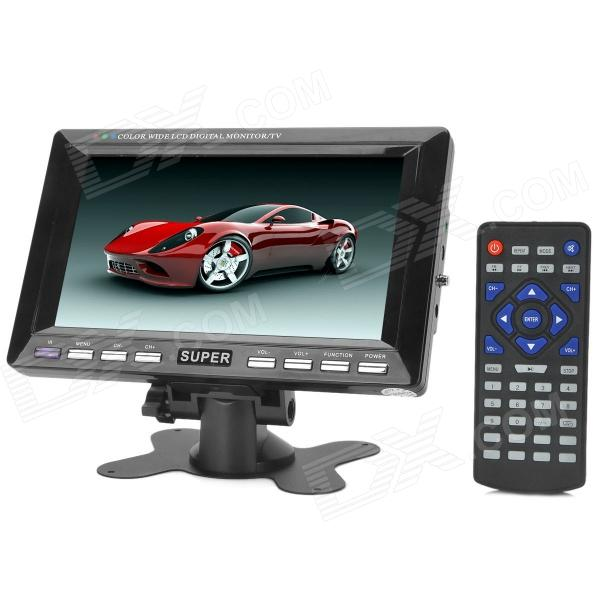 7.0 TFT LCD 16:9 PAL / NTSC Car / Home Monitor w/ AV / SD / USB + IR Remote Control - Black aputure digital 7inch lcd field video monitor v screen vs 1 finehd field monitor accepts hdmi av for dslr