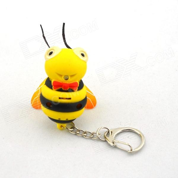 Cute Luminous Bee Keychain w/ Sound Effect - Yellow + Black (3 x AG10)