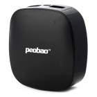 Peobao 6000mAh Rechargeable Dual USB Output Mobile Power Bank for iPhone + Samsung - Black