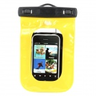 "PVC-Y Waterproof Bag Pouch w/ Neck Strap for Iphone + 5.3"" Samsung Cell Phone - Yellow + Black"
