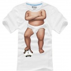 Baby Body Play Football Pattern Cotton Short Sleeves T-shirt - White (Size XL)