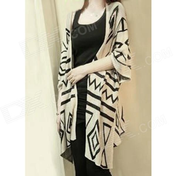 Fashion Women's Medium Sleeves Knitwear Wrap Shawl - Apricot + Black