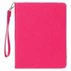Lichee Pattern Protective PU Leather Case Cover w/ Stand for Ipad 2 / 3 / 4 - Deep Pink