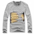 Men's Round Neck Cotton Long Sleeves T-shirt - Grey (Size XL)