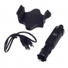 360 Degree Rotatable Universal Plastic Car Mount Holder w/ Car Charger for Iphone 5 - Black
