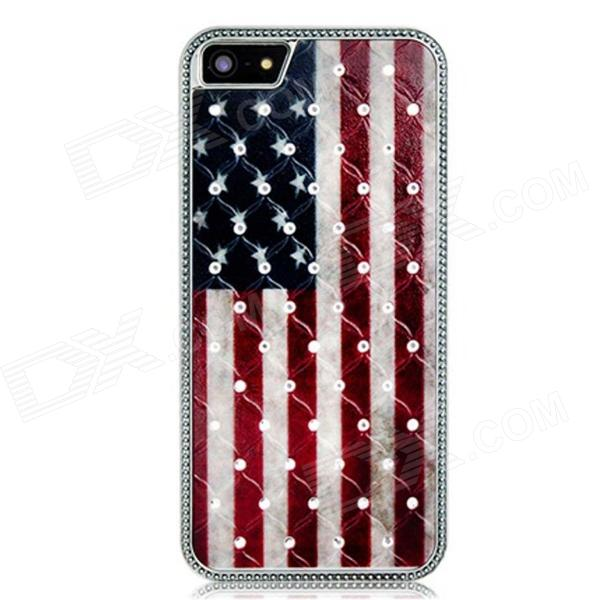 Metal American Flag Crystal Decorated Protective Back Case for Iphone 5 - Red + Black + White protective heart shape rhinestone decoration back case for iphone 5 brown