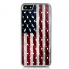 Metal American Flag Crystal Decorated Protective Back Case for Iphone 5 - Red + Black + White