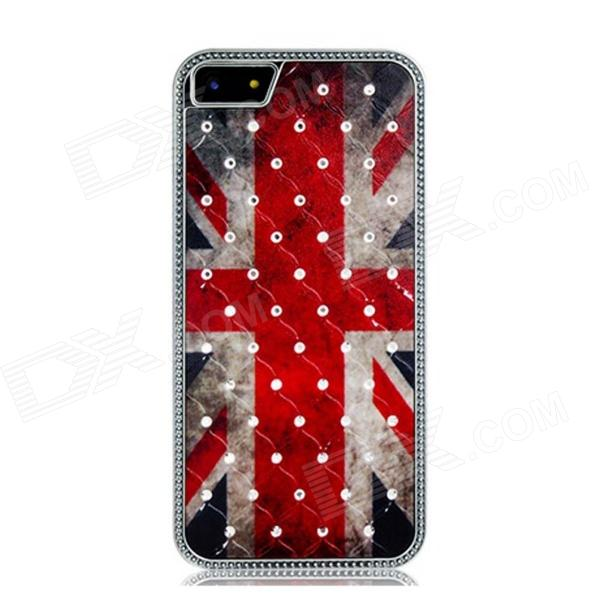 Metal the Union Jack Pattern Crystal Decorated Protective Case for Iphone 5 - Red + Black + White quote turn your face to the sun metal coated hard case cover for iphone se 5s 5